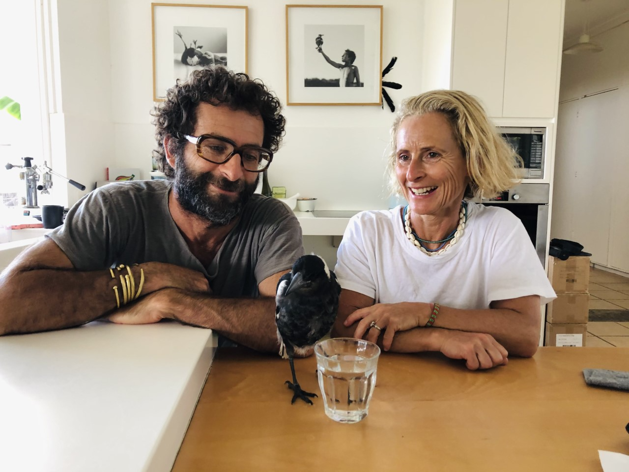 Cameron and Sam Bloom at home with magpie